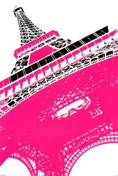 Hot pink Eiffel Tower. Love this for a girl's room.