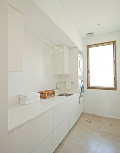Laundry Design Ideas, Pictures, Remodel and Decor - architecture house Modern Laundry Rooms, Laundry In Bathroom, Ikea Laundry Room Cabinets, Laundry Area, Ikea Cabinets, Casa Clean, Laundry Room Inspiration, Laundry Storage, Laundry Room Design