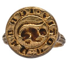 Signet Ring with a Squirrel --  England --- 13th-14th century