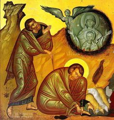 The Holy Prophet Moses and the Burning Bush which was not consumed - a type of the Virgin Theotokos. Roman Church, Burning Bush, Orthodox Christianity, Orthodox Icons, Fresco, Catholic, Altar, Painting, Type