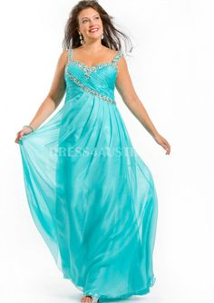 Beaded+Straps+Pool+Chiffon+Plus+Size+Evening+Dress+/+Prom+Dresses