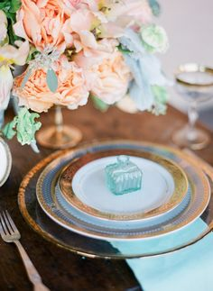 peach and turquoise place setting