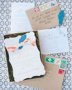 Boho Eclectic Watercolor Feather Wedding Invitations: http://ohsobeautifulpaper.com/2015/03/brianne-lees-eclectic-watercolor-feather-wedding-invitations/ | Design + Photo: Smitten on Paper
