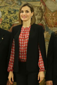 Queen Letizia of Spain attends several audiences at the Zarzuela Palace on January 8, 2016 in Madrid, Spain.
