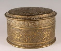 Antique-c1900-Asian-Middle-Eastern-Ornate-Engraved-Running-Tiger-Round-Box