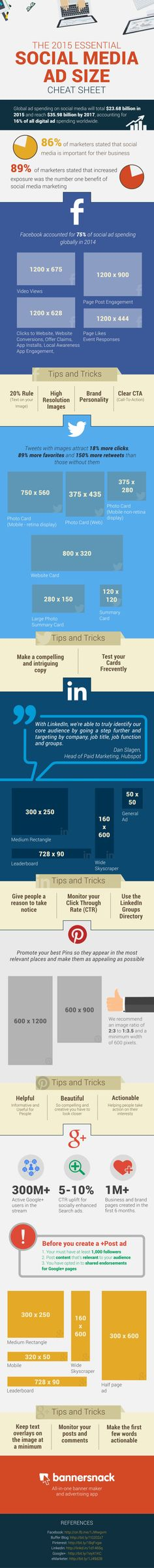 Infographic: The 2015 essential social media ad size cheat sheet Le Social, Social Media Content, Social Media Tips, Social Networks, Facebook Marketing, Marketing Digital, Business Marketing, Social Media Marketing, Facebook Business