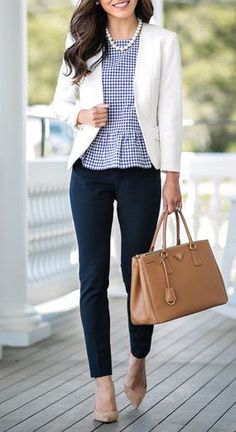 Gingham peplum top + white blazer and navy slacks
