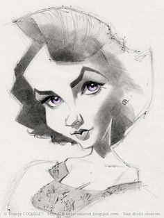 Elizabeth Taylor, by Thierry Coquelet. Ballpoint on paper.