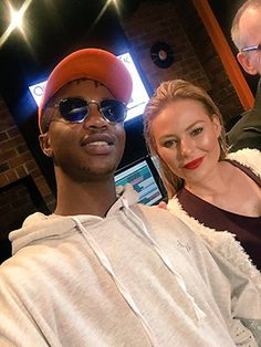 An Emtee selfie with fellow TIOT contestant Karlien van Jaarsveld I had a chuckle on Friday and thought you would too...  There was a launch for thenew season of Tropika Island of Treasurethat I told you about last week. It was at the Expresso Studios in Sea Point and the seven competing schlebs were supposed to be there.  I was curious to meet Emtee because I haven't met him before and I'm quizzy about his Meteoric Rise and the acting thang he's doing so he was the first person ...