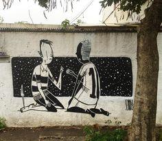 Os murais em preto e branco de Alex Senna