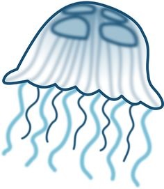 Jellyfish have drifted along on ocean currents for millions of years, even before dinosaurs lived on the Earth. Cute Fish, Free Cartoons, Beach Crafts, Simple Lines, Jellyfish, High Quality Images, Graphic Design Art, Online Art, Vector Free