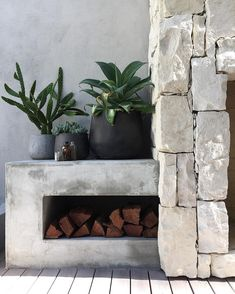 A few of my favourite things. Natural stone, concrete dado, succulents, cactus & an outdoor fireplace.'d in install by styling by my fab client (Old jars found in the earth during construction. Cool Fire Pits, Alfresco Area, Rustic Outdoor, Modern Outdoor Fireplace, Outdoor Fireplaces, Fire Pit Backyard, Outdoor Areas, Outdoor Seating, Outdoor Pool