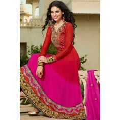 Red & Pink Faux Georgette & Net Anarkali Suit