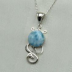 Larimar Necklace - Blue Larimar Pendant - Larimar Jewelry - Larimar - Blue. $75.00, via Etsy.