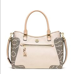 NWT Authentic Tory Burch Purse Beautiful cream and snake leather purse. 💯 Authentic Tory Burch Bags Satchels