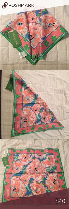 Lilly Pulitzer Sutton Square Scarf in Lucky Charm Brand new with tags in original plastic! Beautiful 100% silk scarf. Measures about 18 inches by 18 inches. A must have to add to your Lilly collection! Lilly Pulitzer Accessories Scarves & Wraps