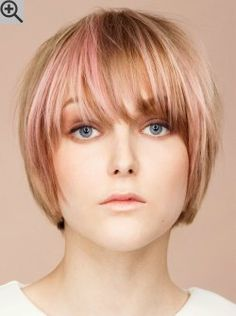 Simple Short Bob Cut With Gorgeous Hair Colors. The Bangs Are Long And  Cover The