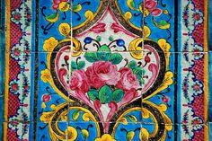 Golestan Palace Tile Art, Mosaic Art, Mosaic Tiles, Tile Painting, Tile Murals, Islamic Art Pattern, Pattern Art, Motifs Islamiques, Islamic Tiles