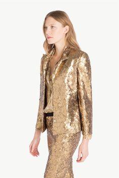www.twinset.com ru-RU pidzhk-plnstiu-ukrshnnyi-pitkmi-p11614?s=S&c=20 Sequin Jacket, Sequins, Dresses With Sleeves, Long Sleeve, Jackets, Women, Fashion, Down Jackets, Moda