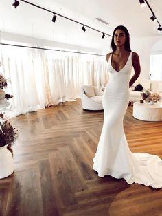 Dream Wedding Dresses, Bridal Dresses, Prom Dresses, Plain Wedding Dress, Crepe Wedding Dress, Affordable Wedding Dresses, Wedding Goals, Wedding Day, Wedding Summer