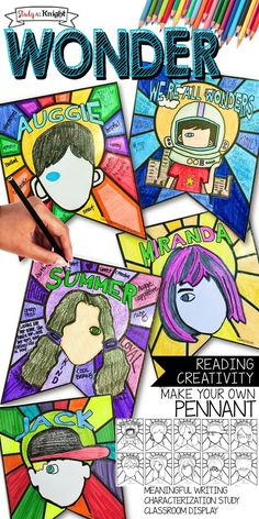 WONDER NOVEL CHARACTER STUDY, CHARACTERIZATION, PENNANT, MAKE YOUR OWN BANNER | Upper Elementary | Middle School | English Language Arts | This Wonder novel, by R.J. Palacio character study pennant is all you need to teach and promote the memorable characters found in the book. Wonder is an amazing novel study for young readers. The Wonder pennant is a guided reading and writing activity. Your students will list character traits using the background organizer on the pennant. here is a…