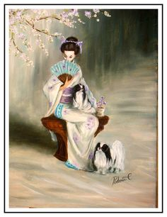 "Japanese Chin with lady dog art print poster 22""x30"" limited edition # 8/25 picclick.com"
