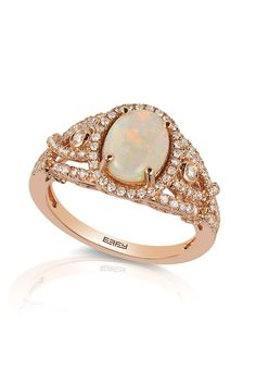 14K Rose Gold Opal and Diamond Ring, 1.51 TCW