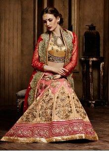 Spectacular Chanderi Pink Resham Work A Line Lehenga Choli