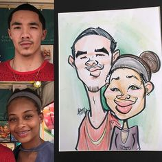 Cool couple from @flstrawberryfestival #flstrawberryfestival #caricature #couple #drawing