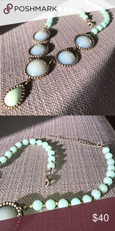 "Jadeite beaded necklace Jadeite beaded necklace with brass beads and an adjustable clasp that measure 20"" at the longest length. Jewelry Necklaces"