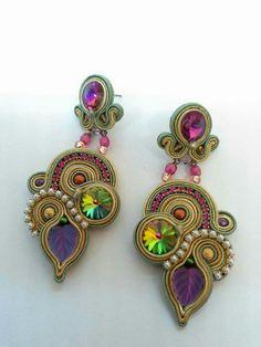 . Soutache Earrings, Ring Earrings, Soutache Tutorial, Sewing Art, Beading Projects, Ribbon Embroidery, Shibori, Jewerly, Jewelry Making