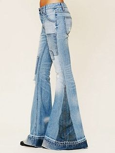 Patched elephant jeans