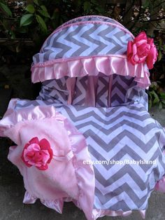 Items Similar To Baby Car Seat Cover Canopy Blanket Infant Chevron Chevy Pink For Girl Fit Most