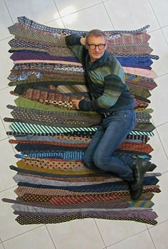 Tie silk rug for floor recycle on Etsy, $267.00 ...I love everything about this including the sexy pose