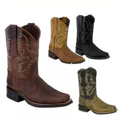 Vintage Men Boots Square Toe Western Biker Cowboy Boots Mens Short Boots, Short Cowboy Boots, Cowgirl Boots, Brogue Chelsea Boots, Leather Chelsea Boots, Ankle Boots Men, Leather Ankle Boots, Cow Leather, Mens Business Shoes