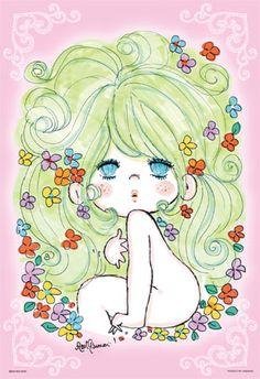 """ado mizumori""    jigsaw puzzle #vintage #manga #big #eyed #cutie #flower #girl"