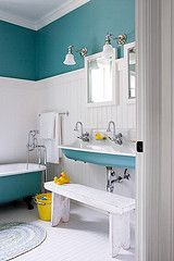 Tall wainscotting with color above and matching tub exterior.  Except ours is Sweet Juliet.  clawfoot tub bathroom (junkgarden) Tags: blue urban white house home vintage bench bathroom industrial turquoise teal country cottage tub de...