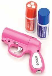 Mace Pepper Gun (Pink) by Mace. $43.03. The Mace Pepper Gun is one of the most accurate defense sprays available. The OC pepper spray formula is contained in a replaceable cartridge. The cartridge utilizes advanced bag-in-a-can technology that allows you to spray a constant stream,reaching up to 20 feet, from any angle.The trigger-activated LED light disorients an attackers vision and helps to accurately aim the Mace Pepper Gun in low-light situations. Each Pep...