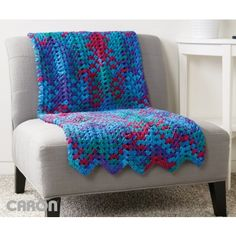 Granny Stitch Chevron Blanket   Yarnspirations   Free Pattern   Home Decor    Caron    Home Decor  