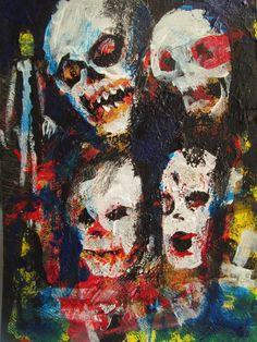"Zombie Art Card  ,outsider art, original painting    jack larson 3.5""x2.5""  #Abstract"