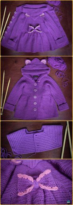 Crochet Kids Sweater Coat Free Patterns Crochet Baby Ruffled Cardigan Coat Free Pattern Video – Crochet Kid's Sweater Coat Free Patterns Crochet Coat, Crochet Cardigan Pattern, Crochet Jacket, Knitted Coat, Beanie Pattern, Wool Coat, Baby Girl Crochet, Crochet Baby Clothes, Crochet For Kids