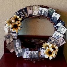 Made for upcoming Mock family reunion. Frames On Wall, Empty Frames, Picture Frame Shelves, Picture Wreath, Diy Crafts For Gifts, Grandma Gifts, Anniversary Parties, Christmas Gifts, Christmas Ideas