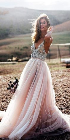 24 Romantic Bridal Gowns Perfect For Any Love Story ❤️ beach a line beaded top tulle pink skirt flowly romantic bridal gowns galia lahav ❤️ Full gallery: https://weddingdressesguide.com/romantic-bridal-gowns/ #bride #wedding #bridalgown