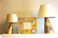 Set di 2 lampade e 1 specchio in mosaico di vetro e murrine. Base in acrilico oro. Set of 2 lamps and a mirror  technique glass and millefiori mosaic. Gold acrylic based.