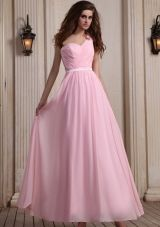 Baby Pink One Shoulder Prom Dress With Hand Made Flower Ankle-length Chiffon For Party - US$136.45