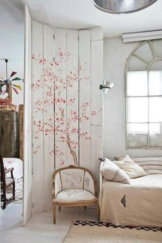 Am only pinning here because so many of you are following the bedroom board.....check out the old widow placed over the current square window. Also the divider is pretty.