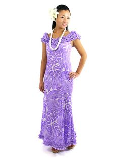 [Exclusive]Nahenahe Ruffle Long Dress [Protea&Monstera/Lavender] - Hula Costumes - Hula Supply | AlohaOutlet SelectShop