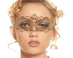 50 Shades of Grey Inspired Gold Laser Cut Masquerade Mask with Swarovski Rhinestones