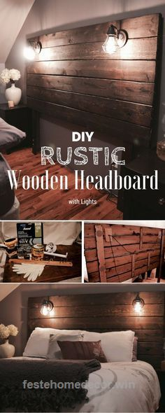 Look Over This Easy to build DIY Rustic Wooden Headboard with Lights /istandarddesign/ The post Easy to build DIY Rustic Wooden Headboard with Lights /istandarddesign/… appeared first on Feste Hom ..