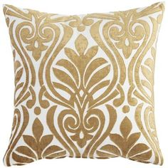 You needn't be a royal to enjoy the look of our gold and ivory velvet pillow. The ornate embroidered design will make you—and your sofa, bed or favorite chair—feel utterly regal.